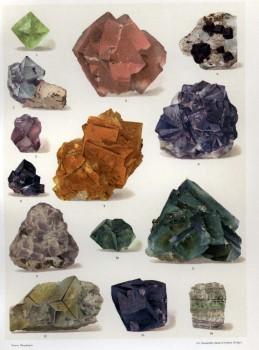 Farblithographie von Fluoriten aus dem Klassiker der Mineralogie: Das Mineralreich von Reinhard Brauns