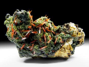 Eine sehr seltene, doch wunderschöne Paragenese: Pyromorphit mit Krokoit vom Platt Prospect in Tasmanien. Foto: Christian Nockemann, Mineralium.com.