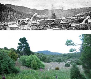 Dundas im Jahre 1894 – ein florierender Grubenort. Foto: H.W. Judd.9 Unten: Heute sind vom ehemaligen Bergmannsdorf Dundas kaum noch Überreste zu sehen. Foto: Bruce Stark 2004.